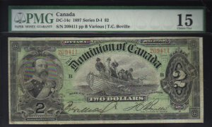 1897 $2 DOMINION OF CANADA  DC-14c BANKNOTE PMG 15
