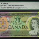 1969 $20  replacement  *E/H BANK OF CANADA  PMG 55abt unc