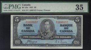 1937 $5   BANK OF CANADA   BC-23c    PMG 35