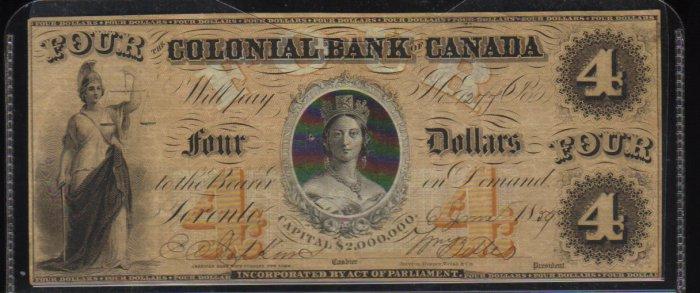 "1859 $4 colonial bank of CANADA  queen victoria ""chalon  portrait"""