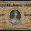 "1859 $4 colonial bank of CANADA  queen victoria ""chalon  portrait"""