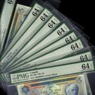 # 2,3,4,5,6,7,8,9,10 $5 1972  BANK OF CANADA PMG 64  including lucky #8