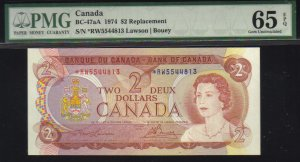asterisk replacement*R/X $5 1954 BANK OF CANADA PMG 65