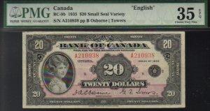 1935 $20  BANK OF CANADA PMG 35 princess note