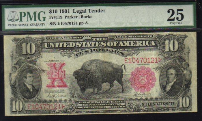 $10 1901 parker -burke BISON FR# 119USA banknote PMG 25