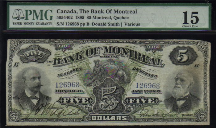 $5 1895 BANK OF MONTREAL canada banknote PMG 15 scarce!
