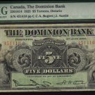 $5 1925 THE DOMINION BANK canada banknote PMG 15