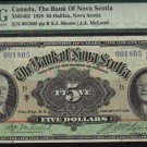 $5 1929  BANK OF NOVA SCOTIA  banknote PMG 30