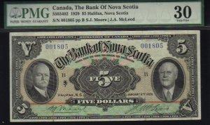 $5 1929  BANK OF NOVA SCOTIA  banknote PMG 30