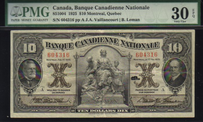 $10 BANQUE CANADIENNE NATIONALE banknote PMG 30 scarce