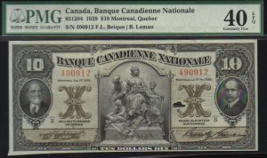 $10 BANQUE CANADIENNE NATIONALE banknote PMG 40 scarce  !