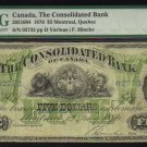 1876 $5 CONSOLIDATED BANK OF CANADA  PMG 15 scarce!