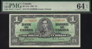 1937  $1 BANK OF CANADA  PMG 64  choice unc   BC-21d