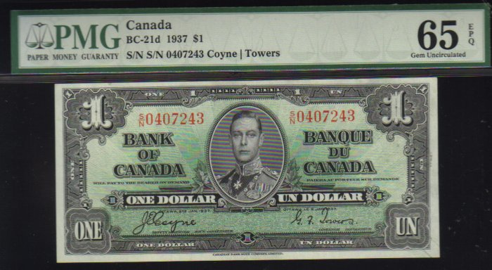 1937  $1 BANK OF CANADA  PMG 65  choice unc   BC-21d