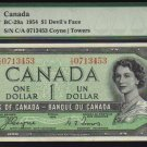 DEVILS FACE $1 BANK OF CANADA 1954 PMG 66 gem unc
