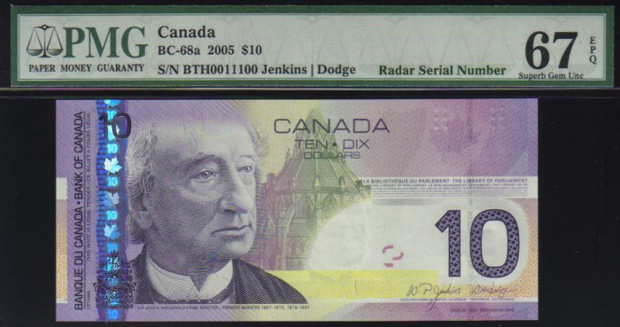 2005 $10  BANK OF CANADA  PMG 67 EPQ RaDaR 0011100