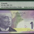 2005 $10  BANK OF CANADA  PMG 67 EPQ RaDaR 0011100