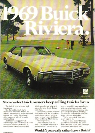 1969 Buick Riviera vintage collectible color magazine ad