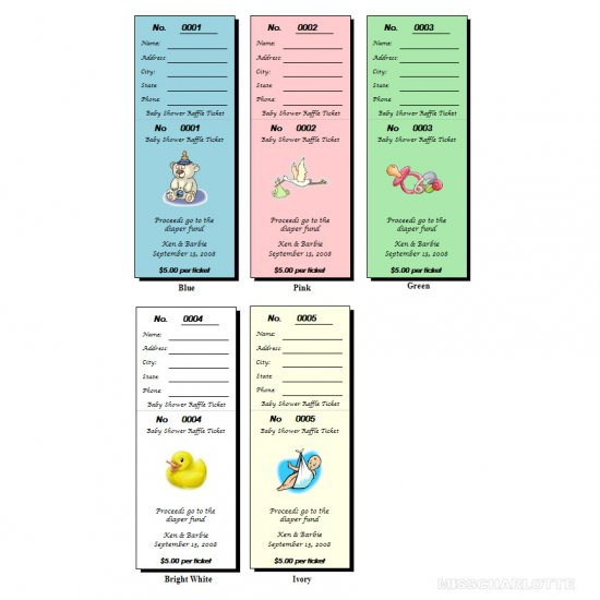 104 Personalized Baby Shower Raffle Ticket Favors