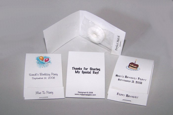 100 Personalized Birthday Party Mintbooks Mintbook Favors