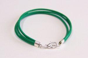 Green Surfer Style Leather Bracelet