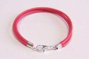 Hot Pink Surfer Style Leather Bracelet