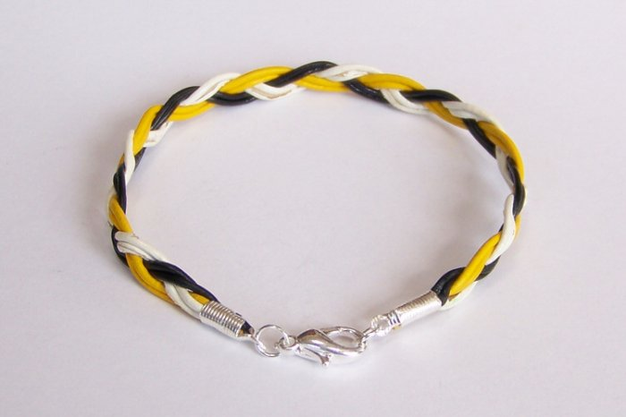 Black White and Yellow Braided Leather Bracelet - Pittsburgh Steelers