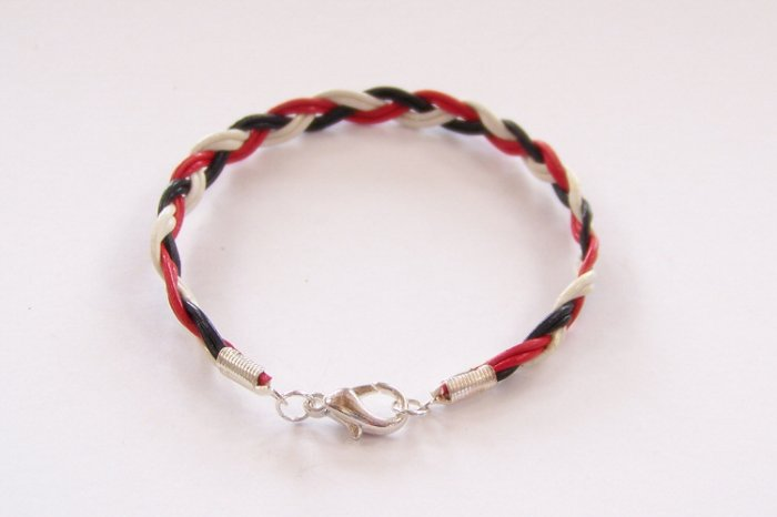 Black White and Red Braided Leather Bracelet