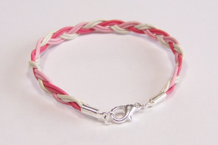 Pink and White Braided Leather Bracelet - Breast Cancer Awareness