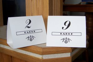 20 Personalized Wedding Tent Style Table Cards Style #1