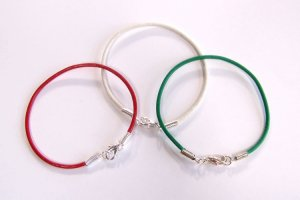 Christmas Themed Leather Bracelet Set - Green White Red
