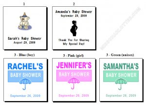 "2"" Personalized Square Baby Shower Favor Labels 60 cnt"