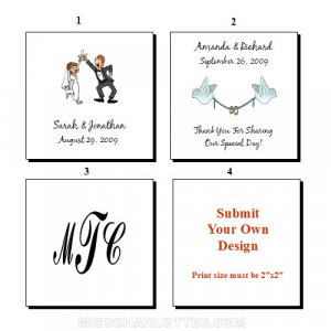 "1.5"" Personalized Square Wedding Favor Labels 120 cnt"