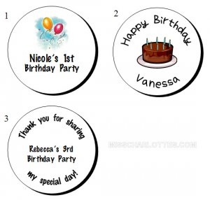 "1.2"" Personalized Birthday Party Round Favor Labels (192 cnt)"