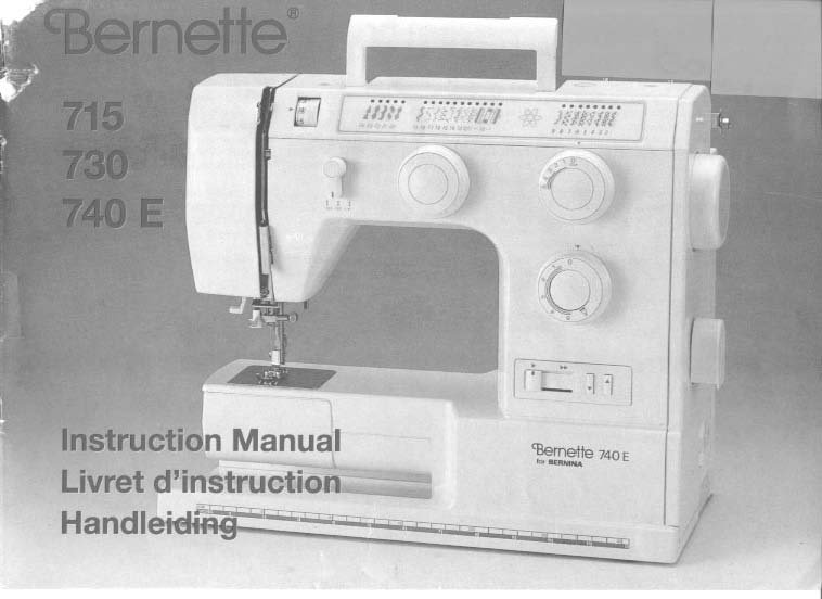 Bernina Bernette 715, 730, 740E Sewing Machine Manual Pdf