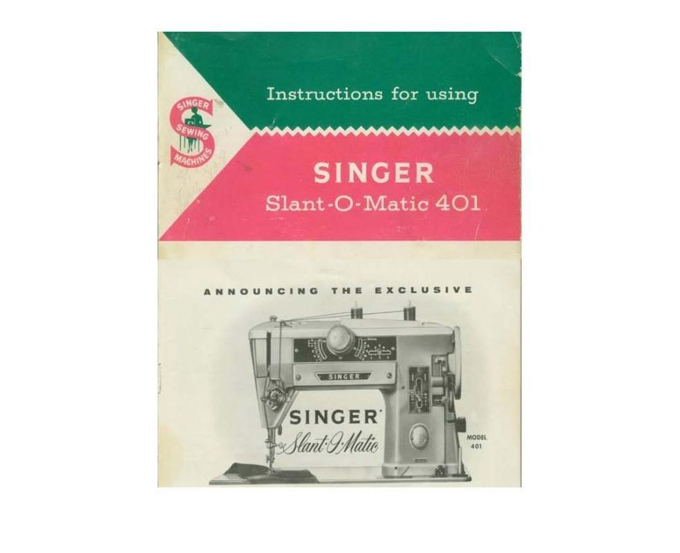 Singer Model 401 Sewing Machine Manual Pdf