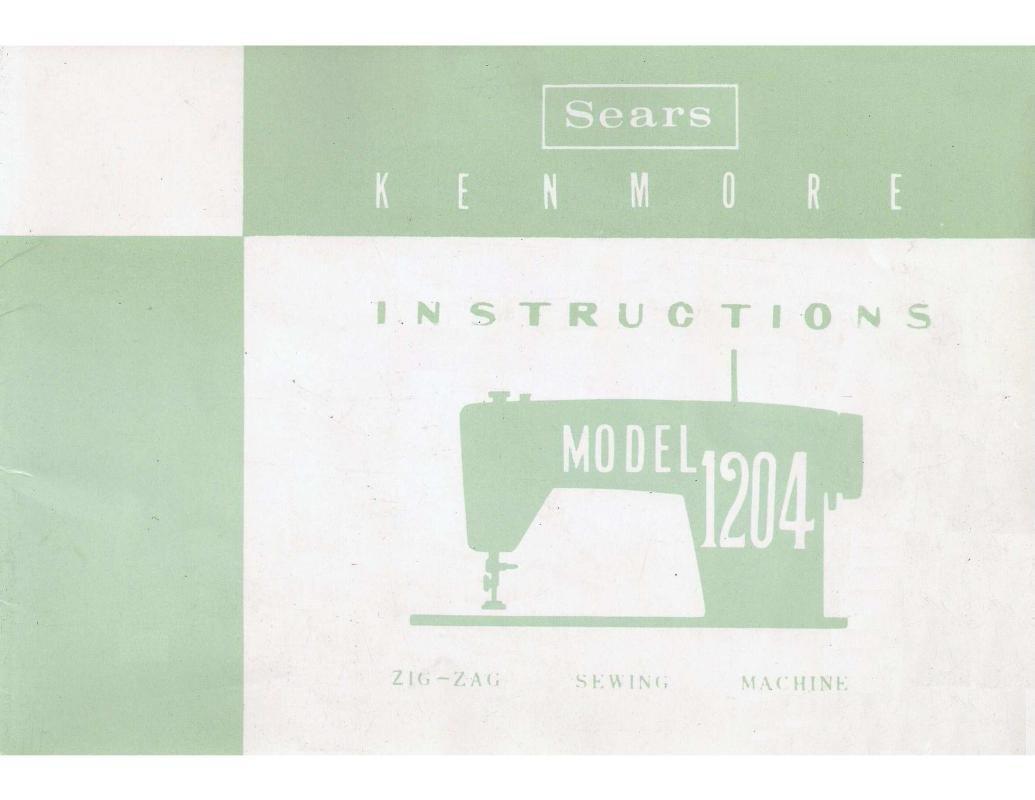 Kenmore Model 1204 Sewing Machine Instruction Manual Pdf