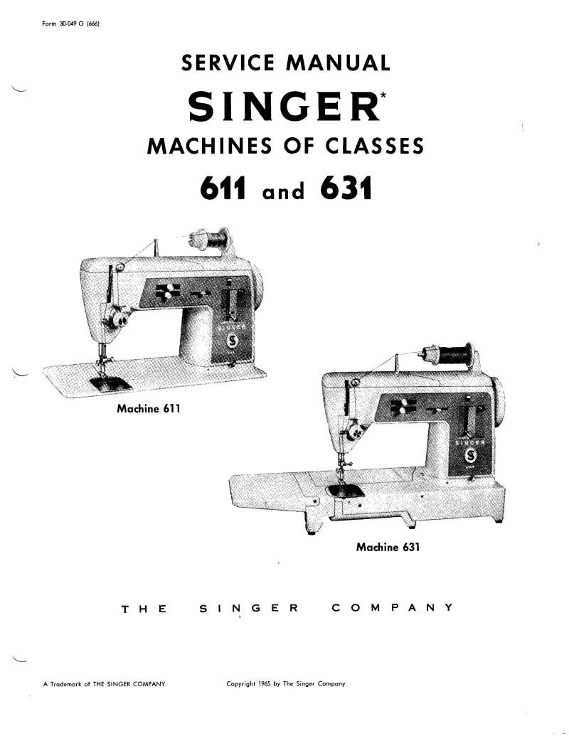 Singer 631 Sewing Machine Service Manual Pdf