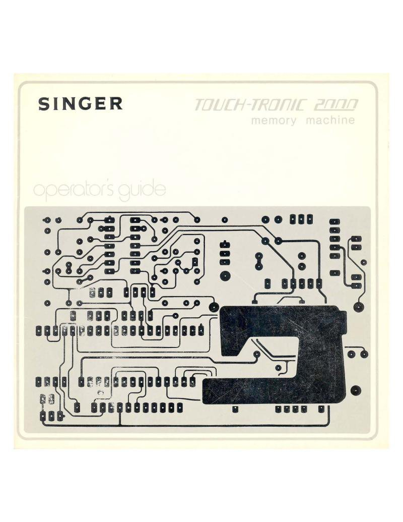 Singer 2000 Touch-Tronic Sewing Machine Instruction Manual Pdf