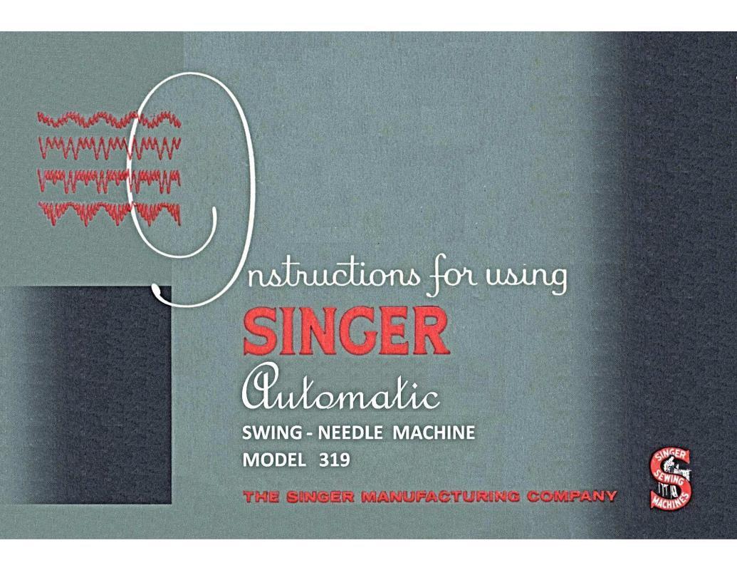 Singer 319 Sewing Machine Instruction Manual Pdf