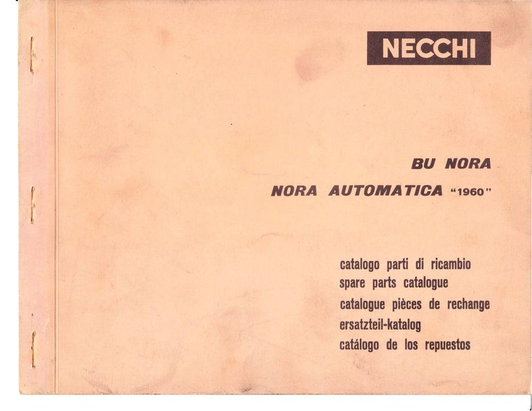 Necchi Model 1960 BU Sewing Machine Parts Catalogue Pdf