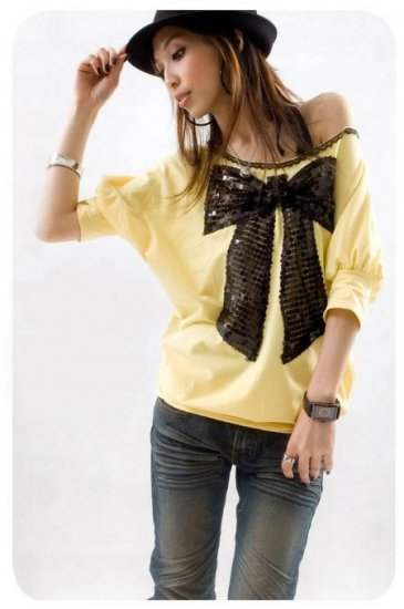 ML 8036  White big ribbon(sequins) top