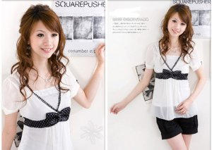 ML 8042 white chiffon ribbon blouse