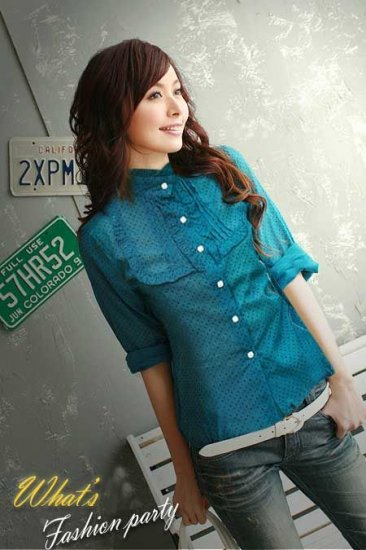 ML 8052 Blue long sleeves cotton shirt