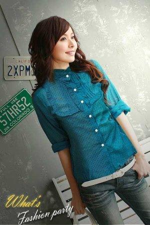 ML 8052 Blue long sleeves cotton shirt