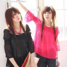 ML 8054 Black 3 quarter sleeves chiffon top