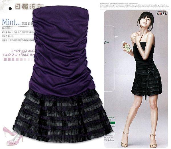 ML 9057 White/purple dinner dress