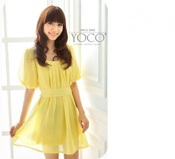 ML 9054 yellow chiffon dress