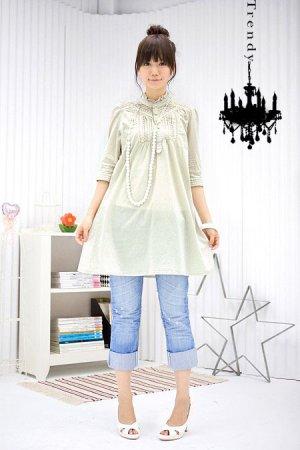 ML 9060 cream long sleeves dress
