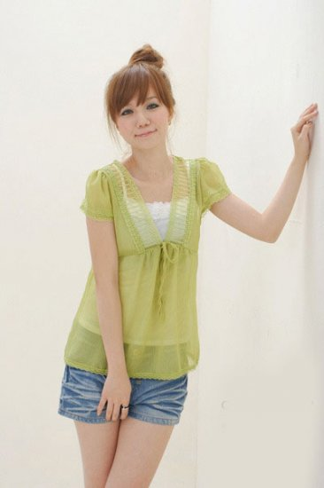ML 8066  apple green chiffon blouse